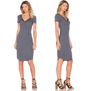 Monrow Henley Shortsleeve Jersey Dress